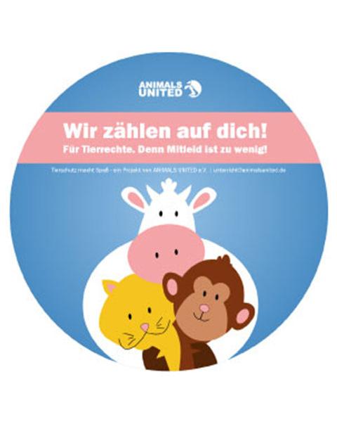 Aufkleber Buttons Animals United Ev