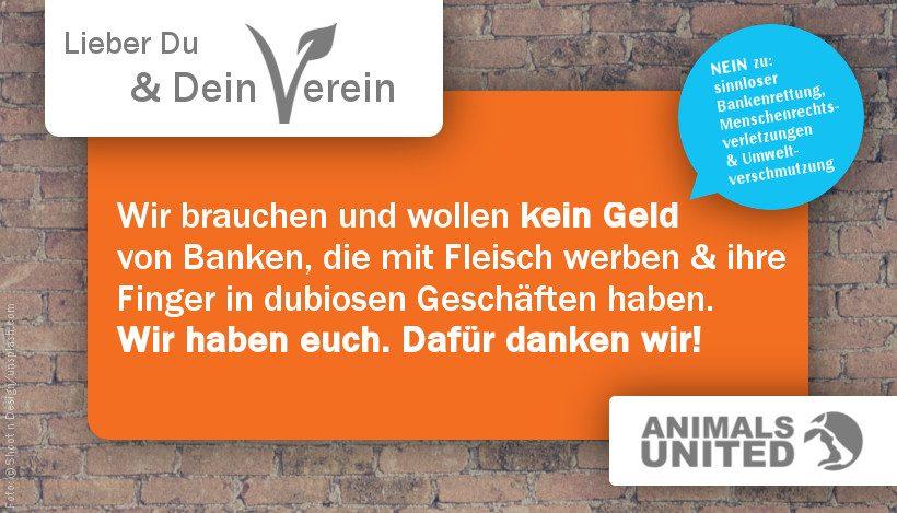 LIEBER DU & DEIN VEREIN: Wir zählen auf euch statt auf dubiose Banken!