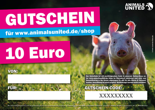 Gutschein 10 Euro Animals United Ev