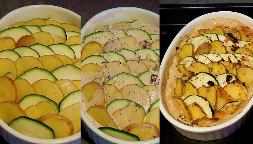 Tierleidfrei genießen: Kartoffel-Zucchini-Gratin