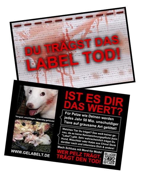Anti Pelz Kärtchen Label Tod Animals United Ev